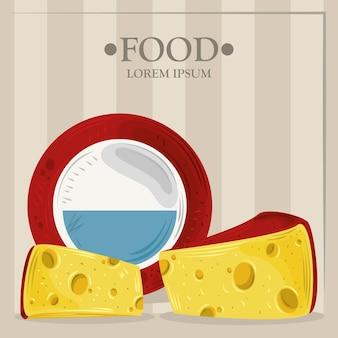 Ilustração de produtos de queijo em fatias e inteiros
