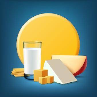 Ilustração de produtos lácteos frescos com copo de leite e casa de campo