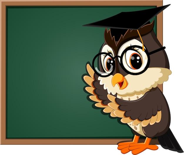 Ilustração de professor de coruja no quadro-negro