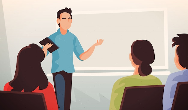 Ilustração de professor de faculdade com alumns