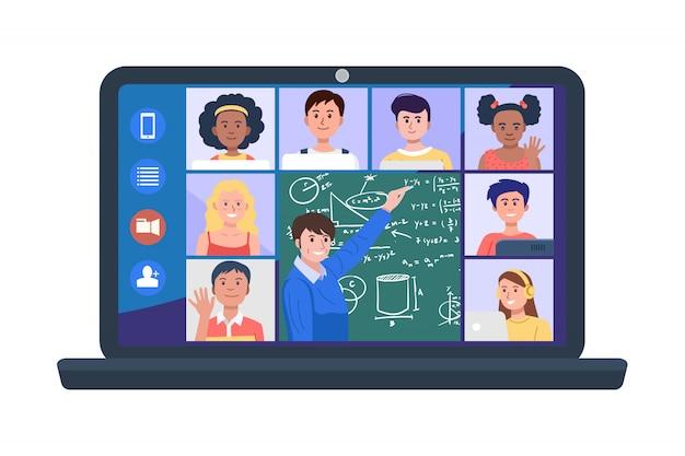 Ilustração de professor e alunos em videoconferência no laptop.