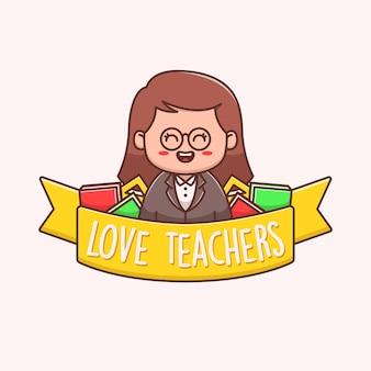 Ilustração de professores de amor fofo em design plano