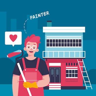 Ilustração de profissões domésticas e de renovação