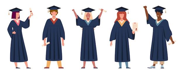 Ilustração de projeto de estudante graduado Vetor Premium