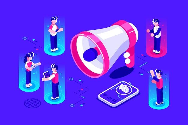 Ilustração de promoção de publicidade de negócios isométrica