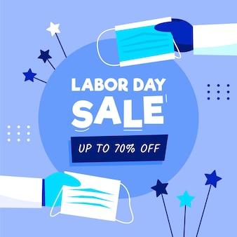 Ilustração de promoção de venda do dia do trabalho desenhada