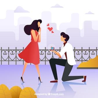 Ilustração de proposta de casamento