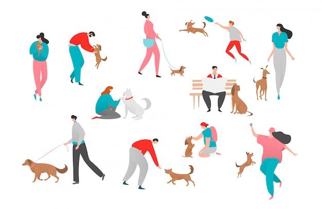 Ilustração de proprietário do cão de estimação pessoas, personagem de homem de desenho animado feliz mulher jogar juntos, andar com cachorro isolado no branco