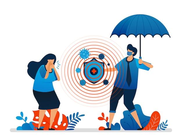 Ilustração de proteção à saúde e segurança financeira