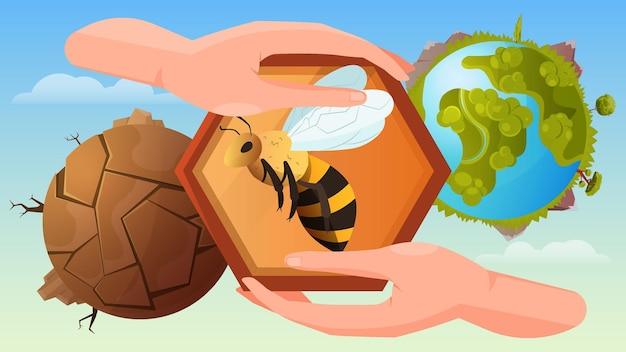 Ilustração de proteção de abelha com mãos humanas segurando um favo de mel no planeta morto e florescendo