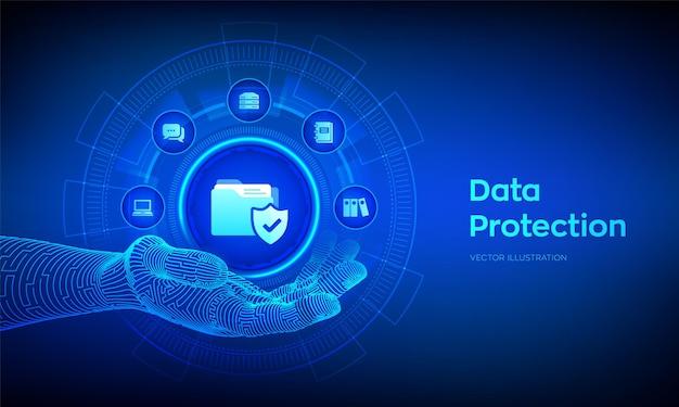 Ilustração de proteção de dados com mão robótica