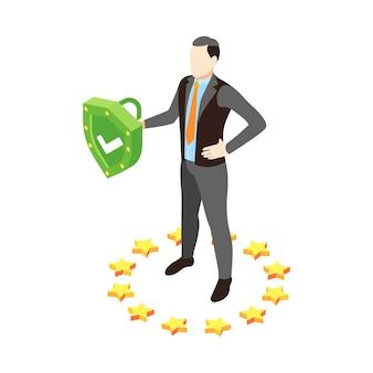 Ilustração de proteção de dados pessoais com um homem confiante segurando um escudo verde isométrico