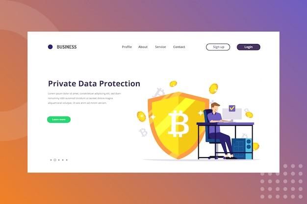 Ilustração de proteção de dados privados para o conceito de criptomoeda na página de destino