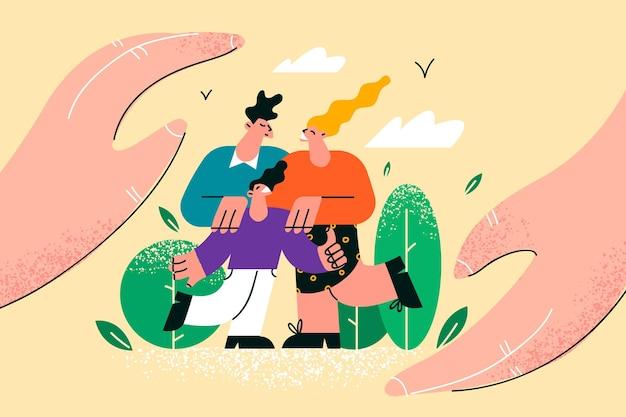 Ilustração de proteção de família com crianças