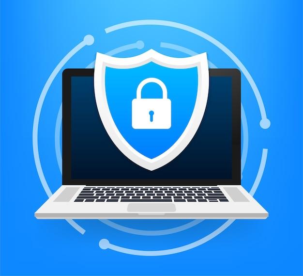Ilustração de proteção de informações de dados e piratas