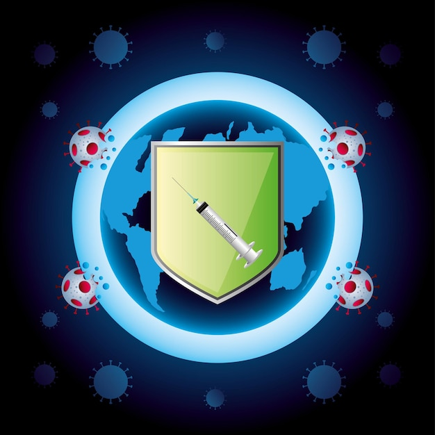 Ilustração de proteção de seringa do escudo mundial de vacina contra coronavírus