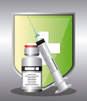Ilustração de proteção do frasco da seringa do escudo do coronavírus da vacina mundial