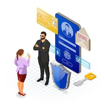 Ilustração de proteção e segurança de dados pessoais