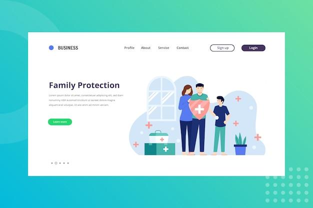 Ilustração de proteção familiar para conceito médico na página inicial