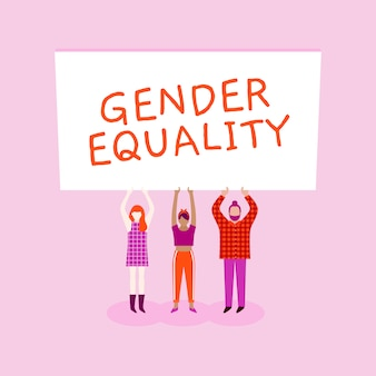 Ilustração de protesto de igualdade de gênero