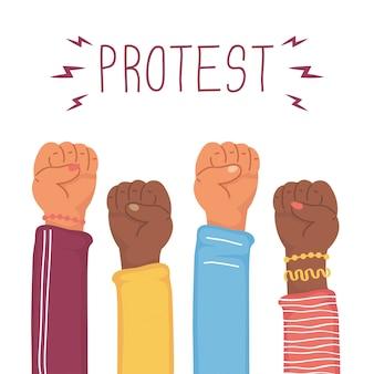Ilustração de protesto de mãos humanas inter-raciais