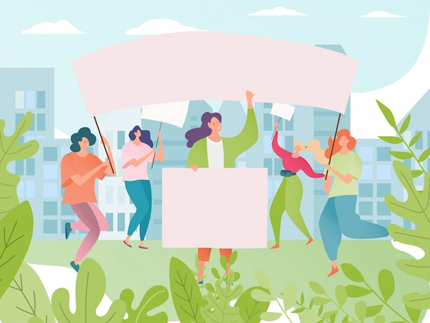 Ilustração de protesto. multidão de personagens de desenhos animados de mulher protestando. demonstração do feminismo de protestante segurando o cartaz.