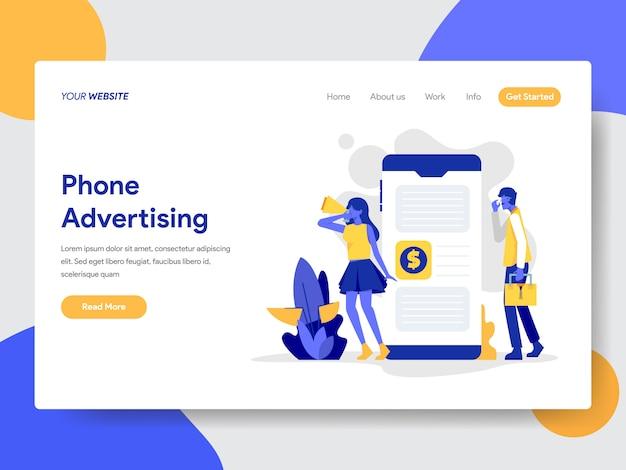Ilustração de publicidade de telefone para a página da web