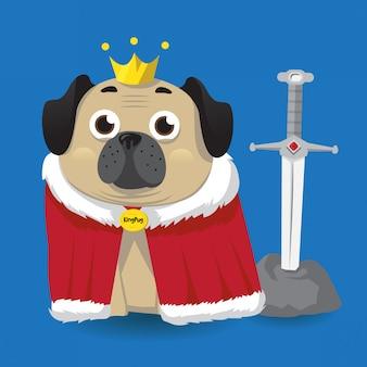 Ilustração de pug rei fofo
