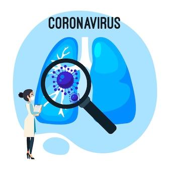 Ilustração de pulmões de conceito de coronavírus