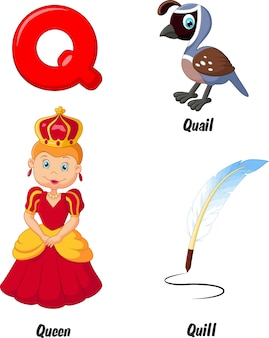 Ilustração, de, q, alfabeto