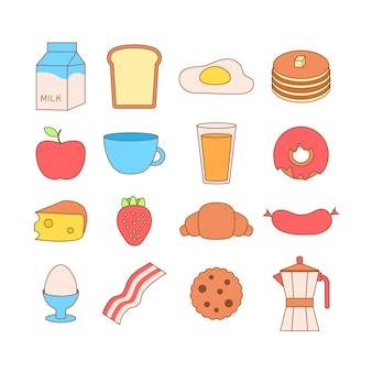 Ilustração de quadro bonito e simples com omelete, azeite, ovos, leite, sal, cebola, cogumelos