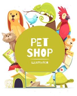 Ilustração de quadro de loja de animais