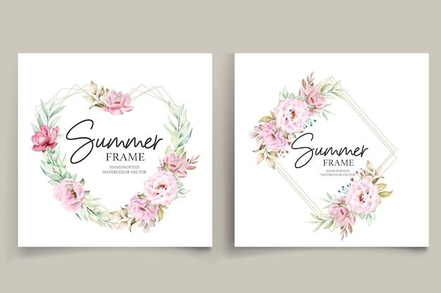 Ilustração de quadro floral de verão pintado à mão em aquarela