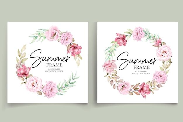Ilustração de quadro floral de verão pintado à mão em aquarela Vetor Premium