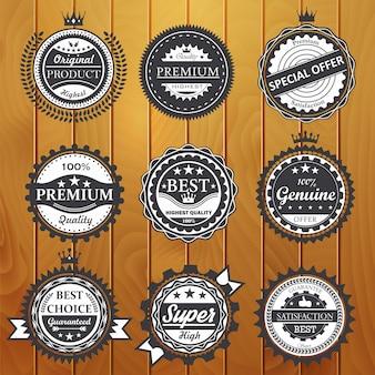 Ilustração de qualidade premium, garantia, genuína e emblemas