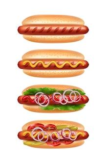 Ilustração de quatro cachorros-quentes com diferentes variedades de culinária