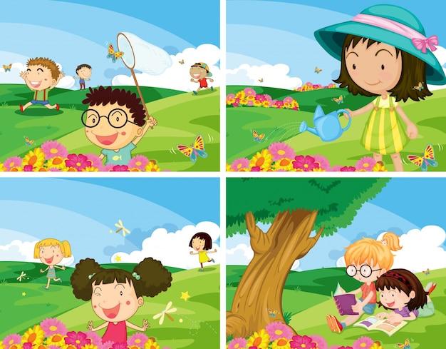 Ilustração de quatro cenários de crianças sendo ao ar livre