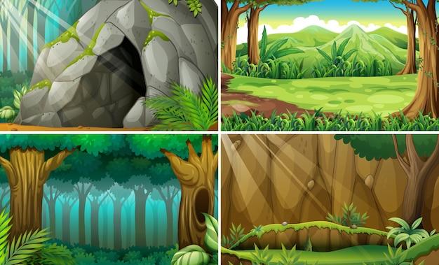 Ilustração de quatro cenas de florestas e uma caverna