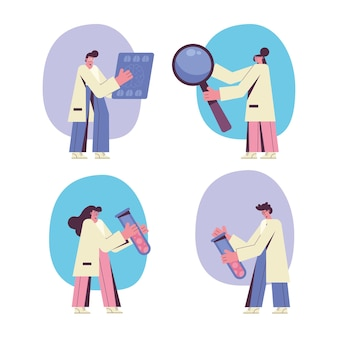 Ilustração de quatro médicos neurologistas