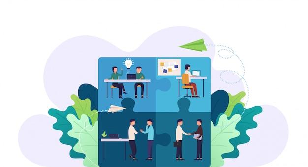 Ilustração de quebra-cabeça de equipe de negócios