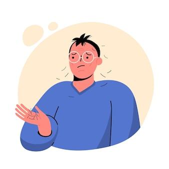 Ilustração de queda de cabelo desenhada à mão plana com homem