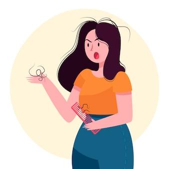 Ilustração de queda de cabelo desenhada à mão plana com mulher zangada