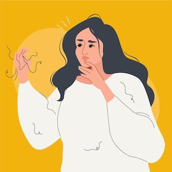 Ilustração de queda de cabelo desenhada à mão plana com mulher