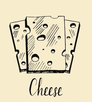 Ilustração de queijo de mão desenhada. um esboço em tinta. queijo picado de plástico.