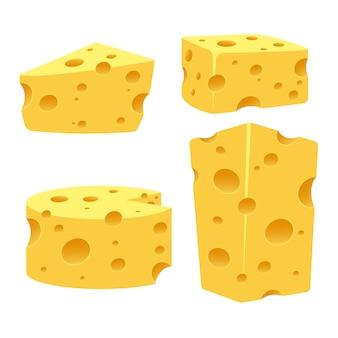 Ilustração de queijo isolada no branco