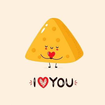 Ilustração de queijo sorridente fofa