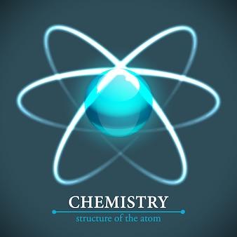 Ilustração de química de molécula com estrutura de átomo