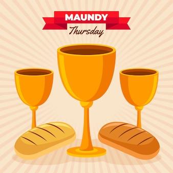 Ilustração de quinta-feira santa com vinho e pão
