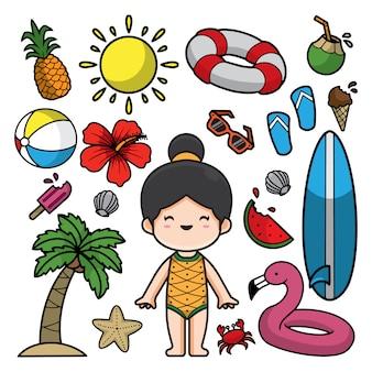 Ilustração de rabiscos de verão