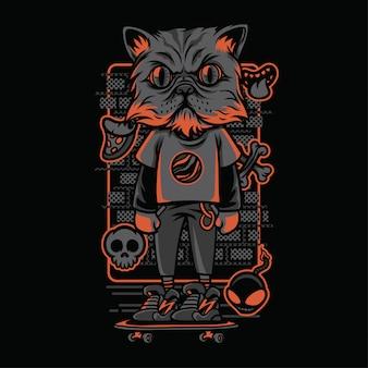Ilustração de raças de gatos de estilo de rua